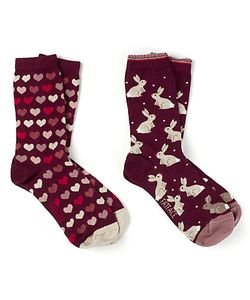 Fat Face   Rabbit And Heart Print Ankle Socks Pack Of 2