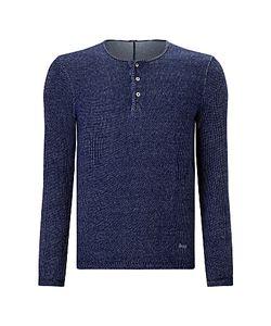 Denham   Irvin Henley Long Sleeve Shirt Indigo