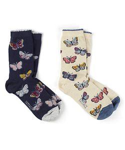 Fat Face   Mini Butterfly Ankle Socks Pack Of 2 Multi