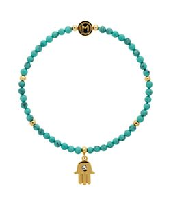Melissa Odabash | Turquoise Bead Hamsa Hand Stretch Bracelet /