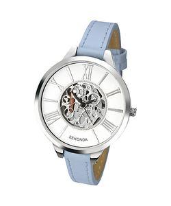 Sekonda | Womens Skeleton Faux Leather Strap Watch