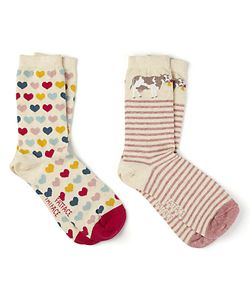 Fat Face   Cow And Heart Print Ankle Socks Pack Of 2