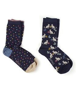 Fat Face   Cat And Spot Print Ankle Socks Pack Of 2
