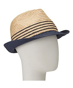 John Lewis | Packable Stripe Trilby Hat Natural/Navy