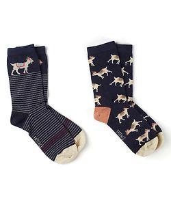 Fat Face   Scatter Goat Print Ankle Socks Pack Of 2 Navy/Sand