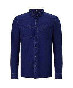 Denham   Edged Cotton Shirt Indigo