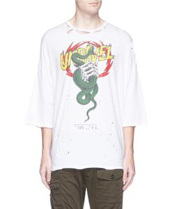 Unravel | Oversized Snake Print Distressed T-Shirt