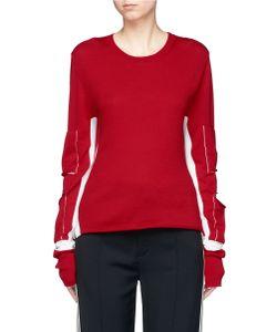 Ports   Cutout Elbow Contrast Stripe Virgin Wool Sweater