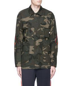 Facetasm | Stripe Knit Panel Camouflage Print Shirt Jacket