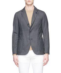 Lardini | Reversible Windowpane Check Wool Soft Blazer