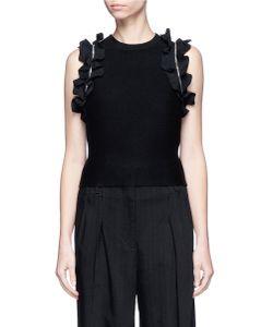 3.1 Phillip Lim | Detachable Ruffle Sleeve Dense Knit Cropped Sweater