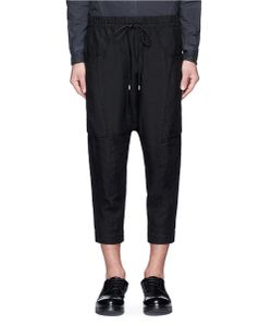 The Viridi-Anne | Dropped Crotch Cropped Linen Jogging Pants