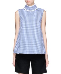 Jourden | Gingham Check Pleated Collar Sleeveless Top