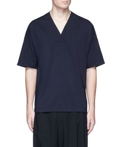 Wooyoungmi | Check Plaid Front Surplice Neck T-Shirt