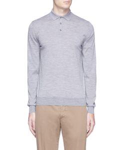 Lardini | Wool Knit Long Sleeve Polo Shirt