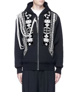 Ports   Rope Embellished And Star Topstitch Zip Hoodie
