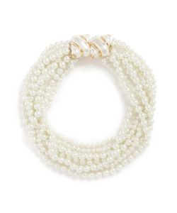 Kenneth Jay Lane | Shell Charm Tie Glass Pearl Necklace