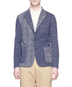 Barena   Torceo Tiole Dot Houndstooth Patchwork Knit Soft Blazer
