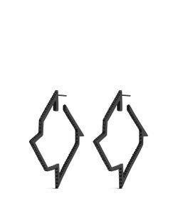 Lynn Ban | Throwing Star Diamond Rhodium Silver Hoop Earrings