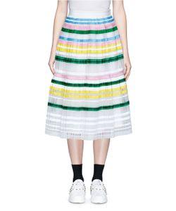 Muveil   Ribbon Stripe Chiffon Pleat Skirt