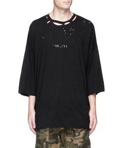 Unravel | Logo Print Ripped T-Shirt