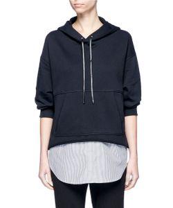 3.1 Phillip Lim | Pinstripe Shirttail Hem Cotton Hoodie
