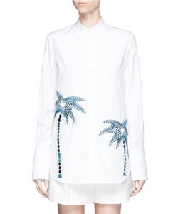 Victoria, Victoria Beckham | Palm Tree Embroide Patch Cotton Shirt