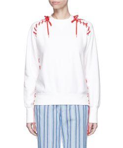 Facetasm | Lace-Up Cotton Fleece Unisex Sweatshirt