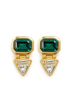 Kenneth Jay Lane | Glass Crystal Plated Clip Earrings