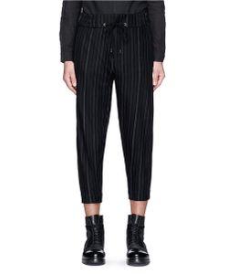 Devoa | Chalk Stripe Cropped Jogging Pants