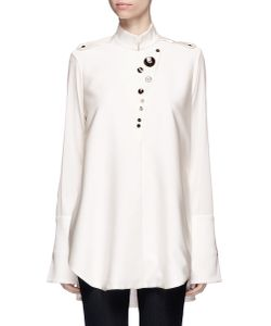 Ellery | Visual Wonder Shell Button Stand Collar Blouse