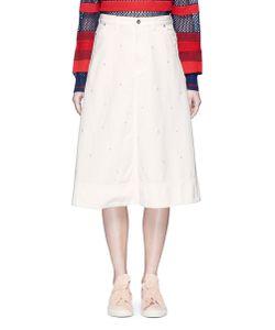 Muveil   Embellished Denim A-Line Skirt