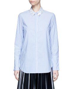 Muveil   3d Flower Embellished Collar Stripe Shirt