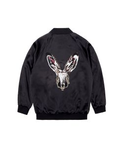 Jay Ahr | Rabbit Embellished Unisex Silk Satin Bomber Jacket