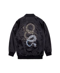 Jay Ahr | Dragon Embellished Unisex Silk Satin Bomber Jacket