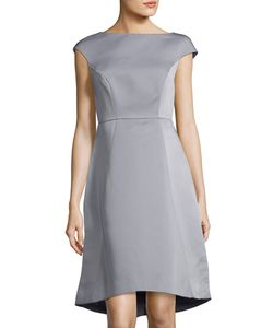 Halston Heritage | Boat-Neck Cap-Sleeve A-Line Dress