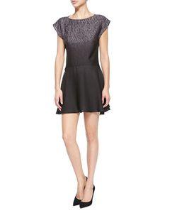 Halston | Short-Sleeve Printed Ombre Mini Dress