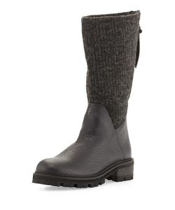 Henry Beguelin | Knitted-Shaft Leather Knee Boot Black/Carbon