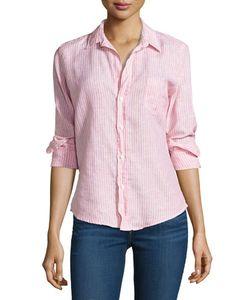 Frank & Eileen   Striped Linen Long-Sleeve Shirt E
