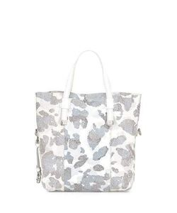 Halston | Printed Leather Tote Bag White Multi