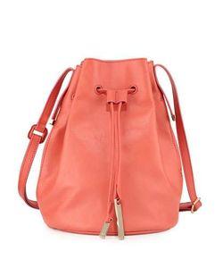 Halston | Drawstring Leather Bucket Bag Melon