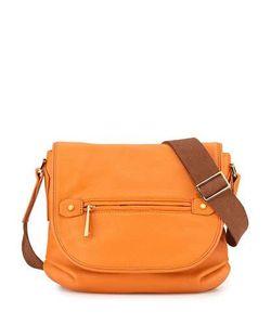 Halston | Two-Tone Leather Shoulder Bag Tangerine