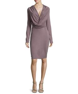 Halston | Long-Sleeve V-Neck Draped Dress