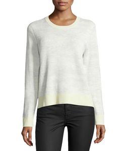 Jason Wu | Long-Sleeve Abstract-Striped Pullover Chalk/Light Celadon