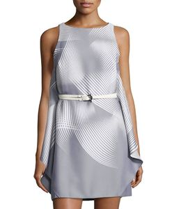 Halston Heritage | Sleeveless Graphic-Print Belted Dress