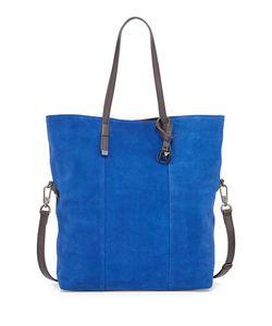 Halston | Colorblock Suede Tote Bag Cobalt Multi