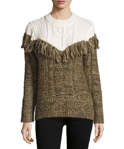 Thakoon | Two-Tone Fringed Pullover Sweater N