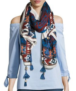 Michael Stars   Printed Scarf With Coin Tassels