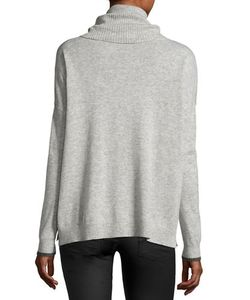Three Dots   Raleigh Cashmere Cowl-Neck Sweater Charcoal
