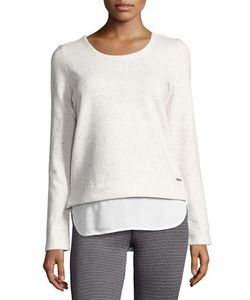 Marc NY Performance   Twofer Knit And Georgette Top